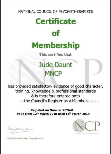Accredited life coach. National Council of Psychotherapists